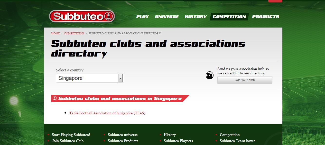 TFAS in Subbuteo website