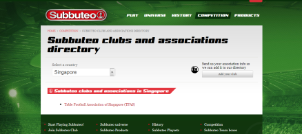 TFAS in Subbuteo website