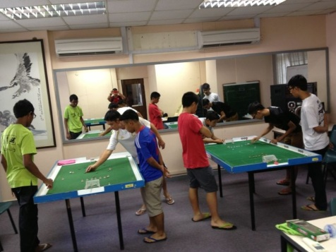 Matches in session, resided over by their respective referees ...