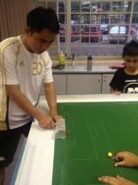 Michael training his goalkeeping ...