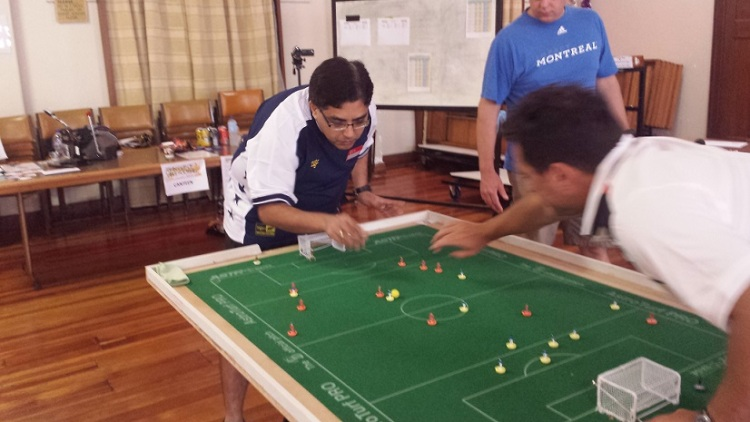 Vikas Chandiramani in action against Raffaele Lombardi ...
